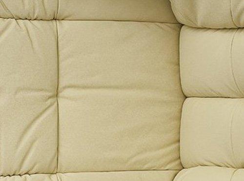 Robas Lund 64023CN5 Relaxsessel Calgary mit Hocker, Bezug: Leder creme, Gestell: Natur, 90 x 91-122 x 89-104 cm -