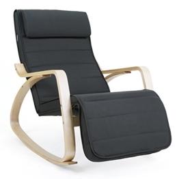 Songmics Sessel Lounge Schaukelstuhl 5-fach verstellbares Fußteil Belastbarkeit 150 kg grau LYY10G -