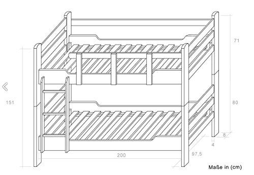 """Etagenbett / Stockbett """"Easy Sleep"""" K12/n inkl. 2 Schubladen und 2 Abdeckblenden, Kopf- und Fußteil gerade, Buche Vollholz massiv Weiß - Maße: 90 x 200 cm, teilbar -"""